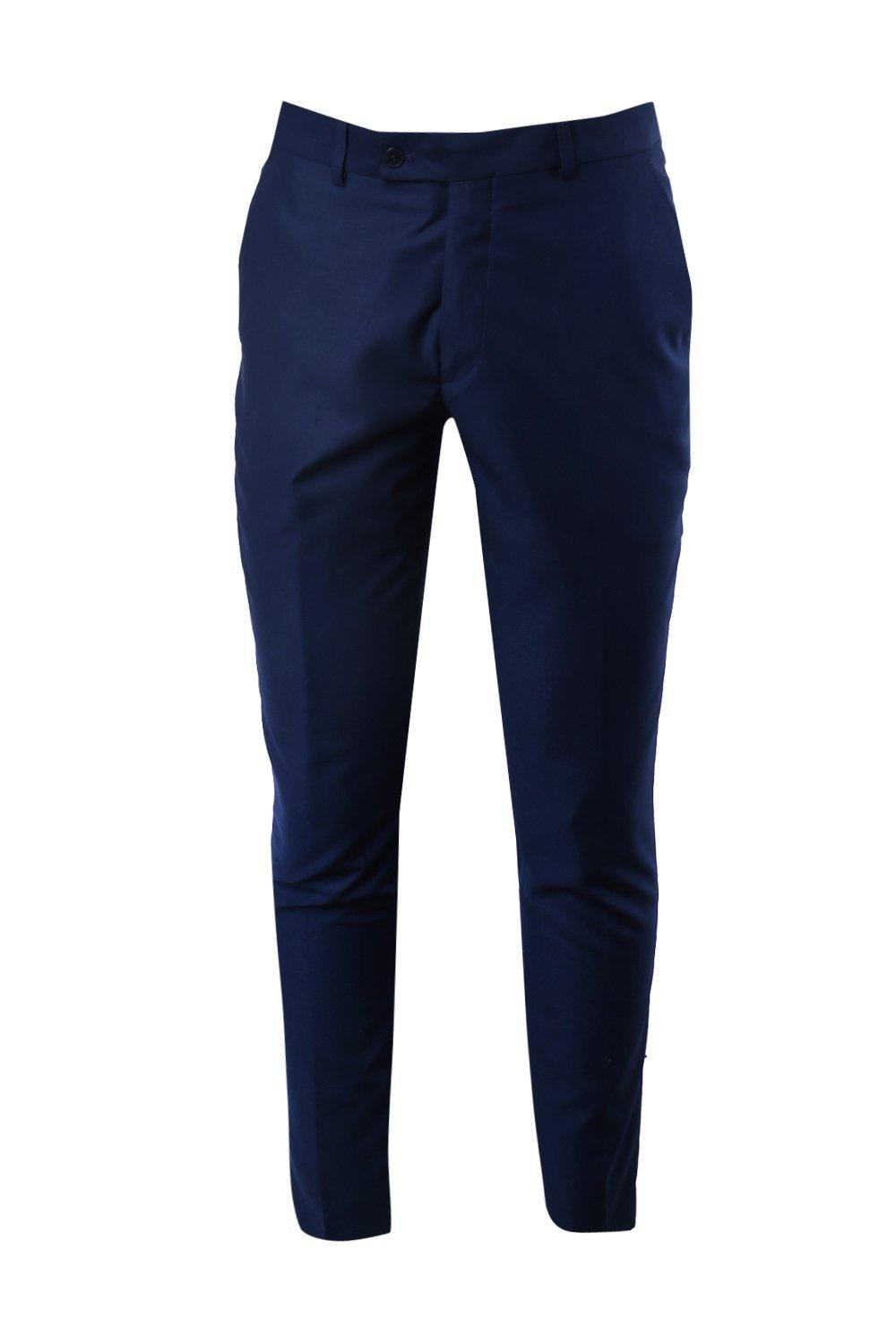boohooMAN navy Skinny Fit Suit Trousers