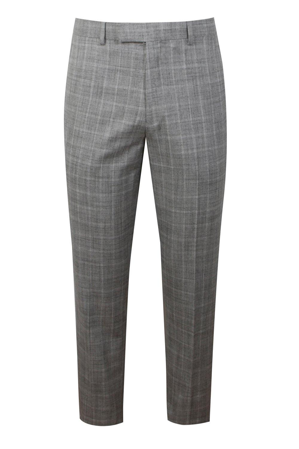 boohooMAN light grey Textured Check Skinny Fit Suit Trouser