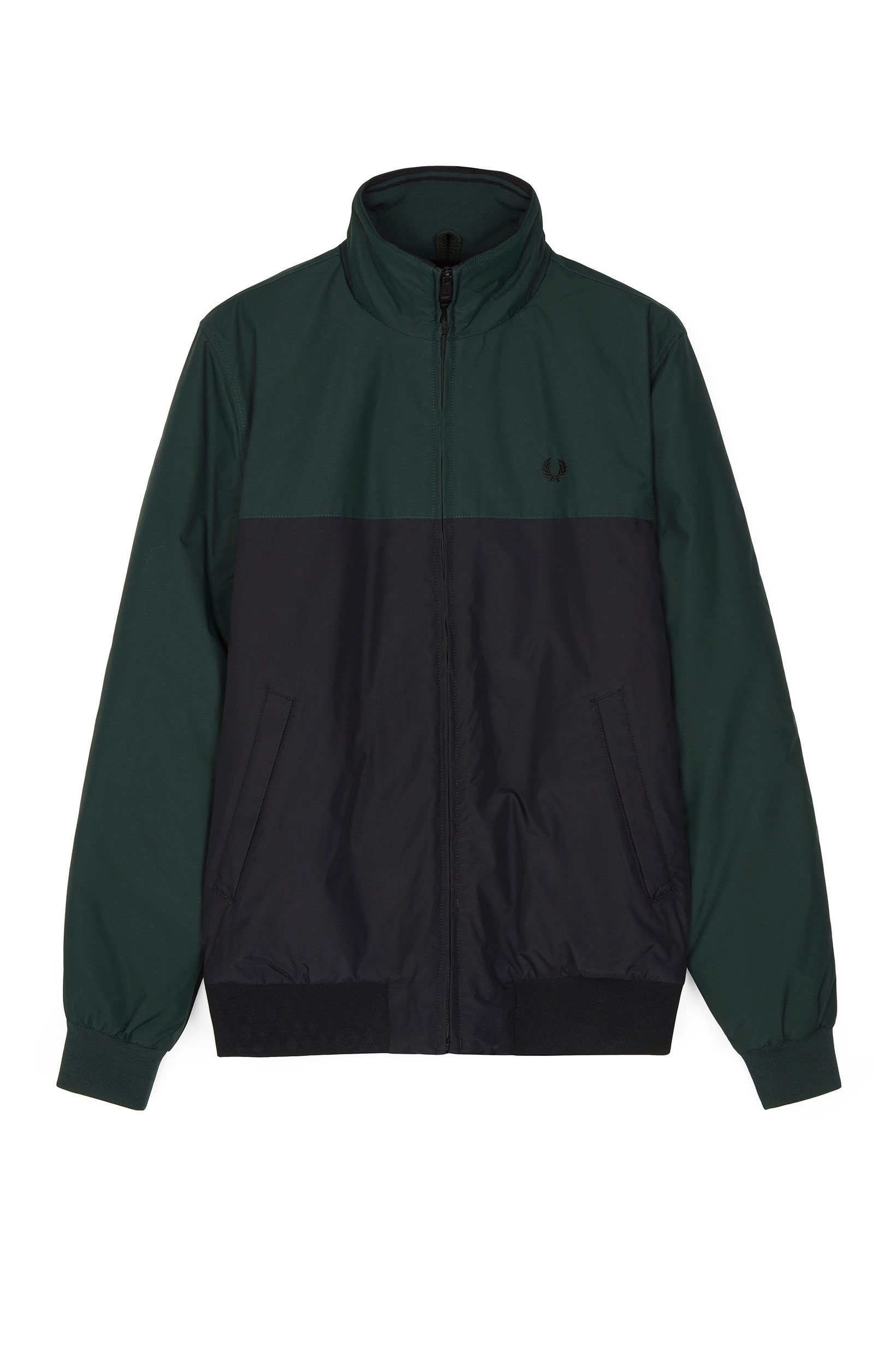 Fred Perry Dark Emerald Panelled Quilted Brentham Jacket