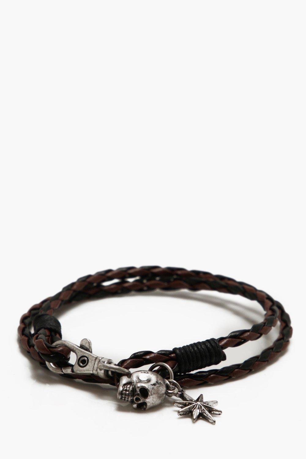 boohooMAN tan Skull And Star Wrap Bracelet