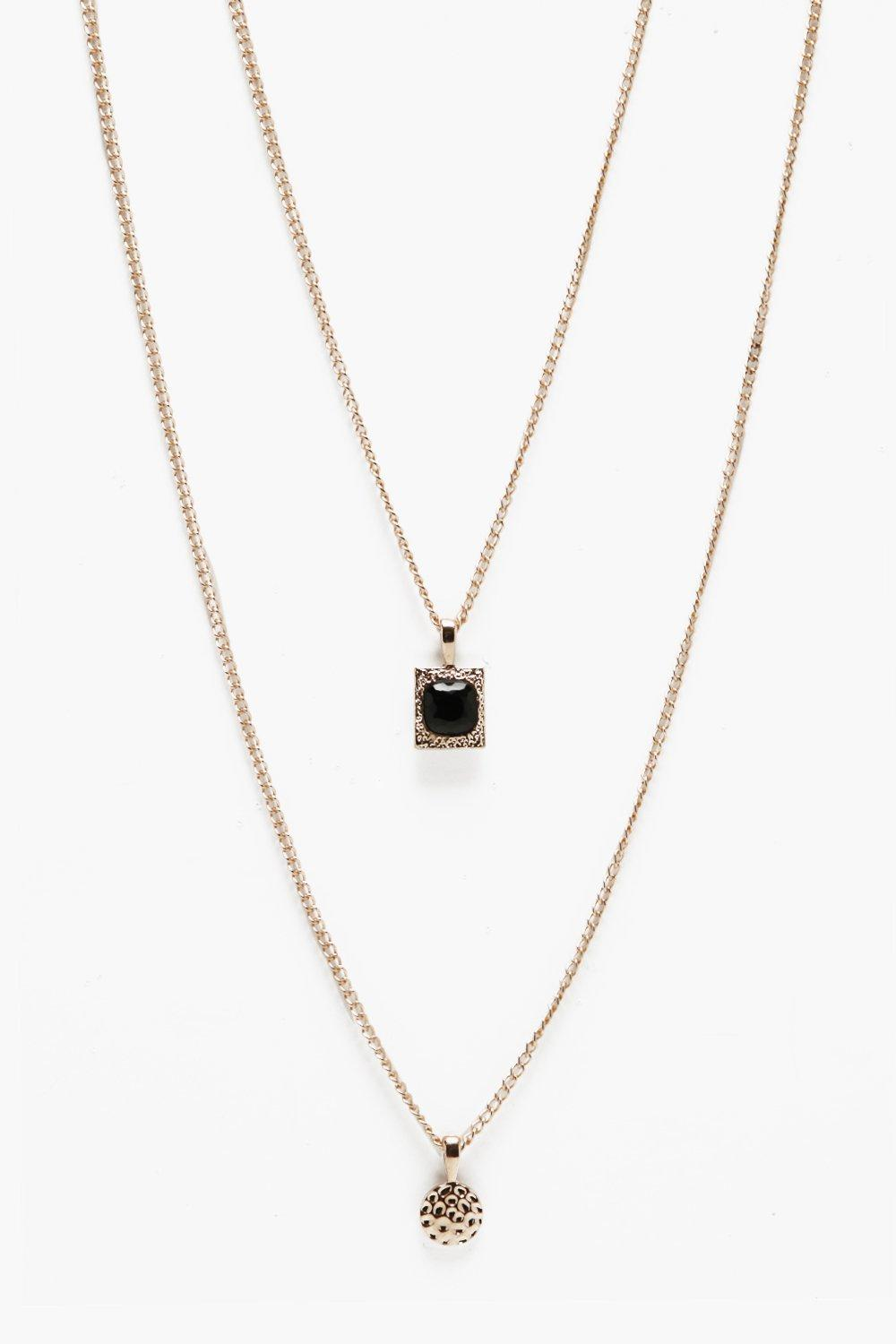 boohooMAN gold Double Pendant Layer Necklace