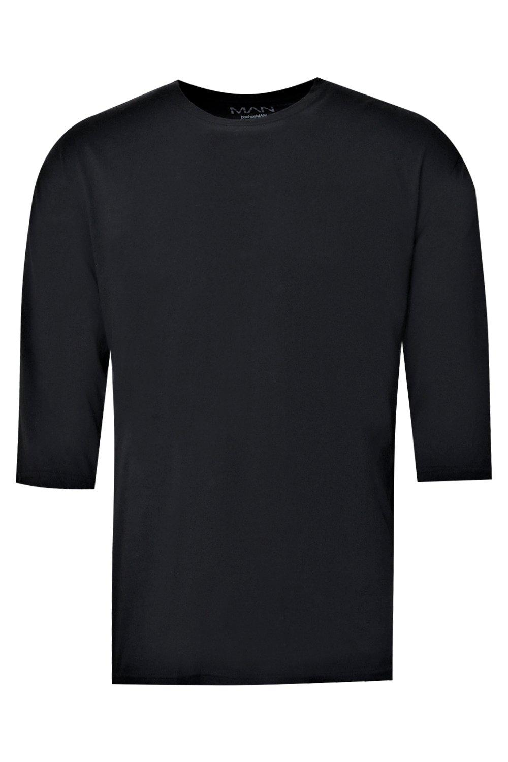 boohooMAN black Loose Fit 3/4 Sleeve T-Shirt