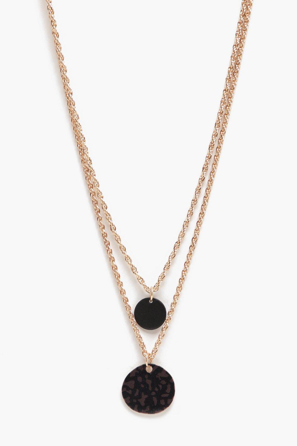 boohooMAN gold Disco Double Layer Necklace