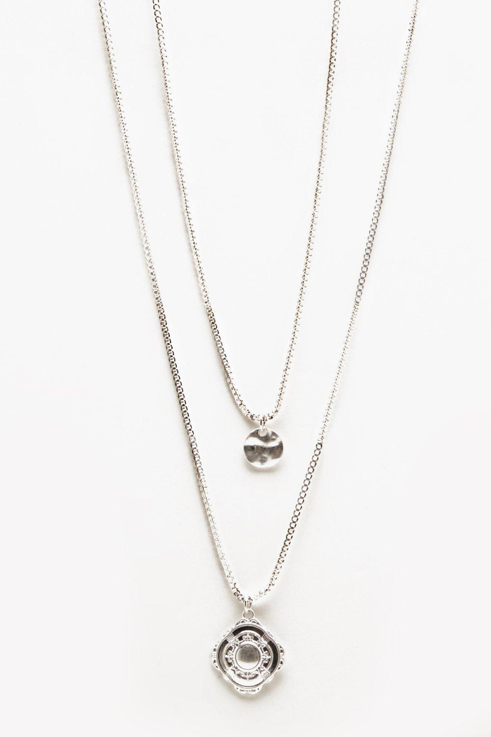 boohooMAN silver Double Layer Pendant Necklace