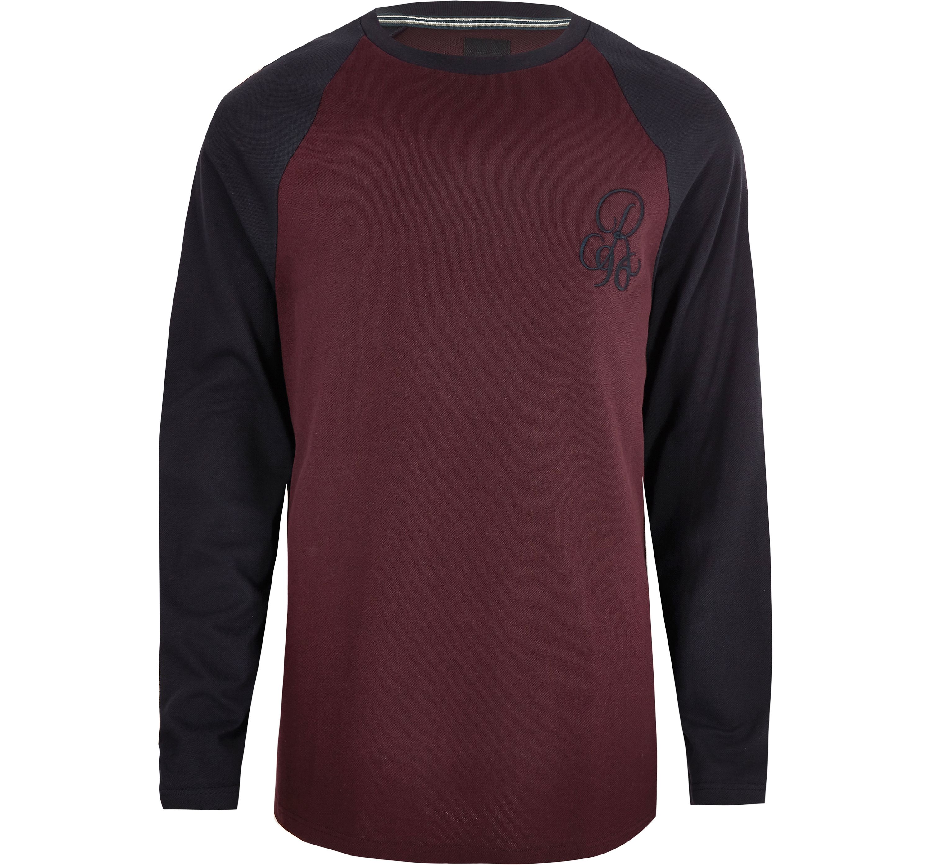 River Island Red Mens Big and Tall burgundy muscle fit raglan T-shirt