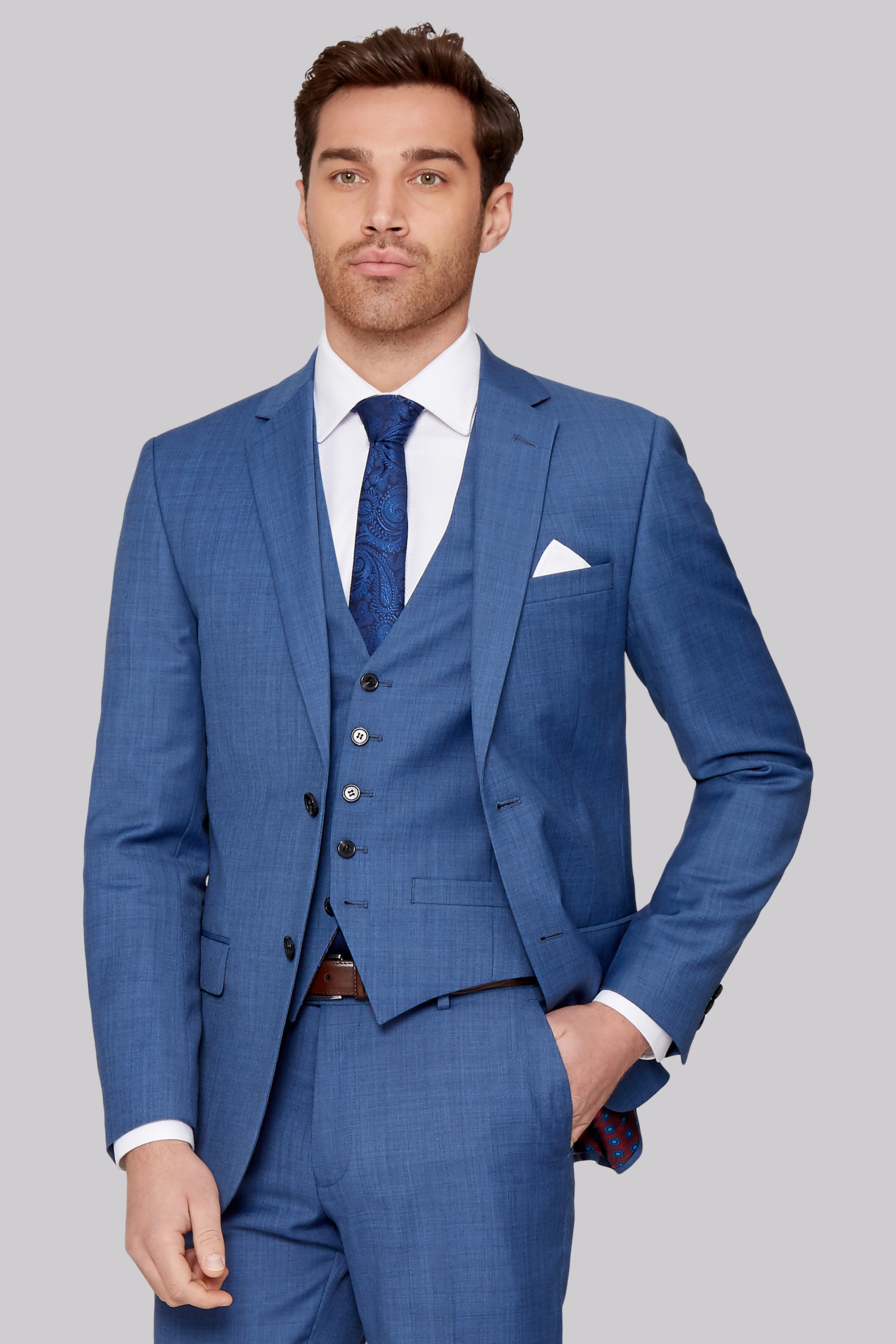 online store sports shoes best choice Tailored Fit French Blue Sharkskin Jacket by Ted Baker — Thread