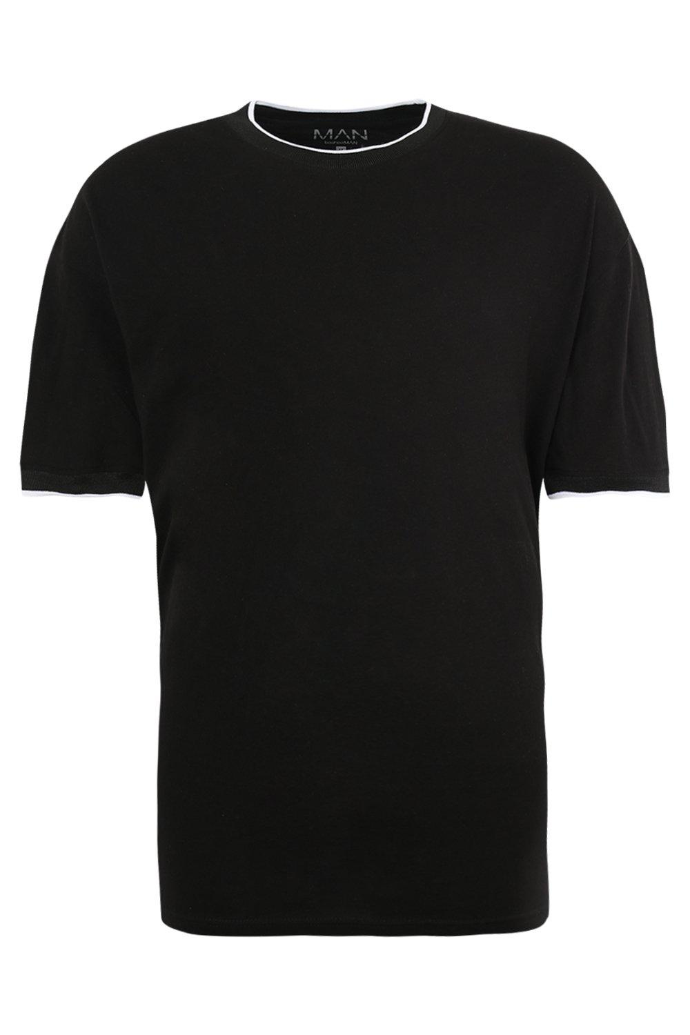 boohooMAN black Oversized T-Shirt With Sports Rib
