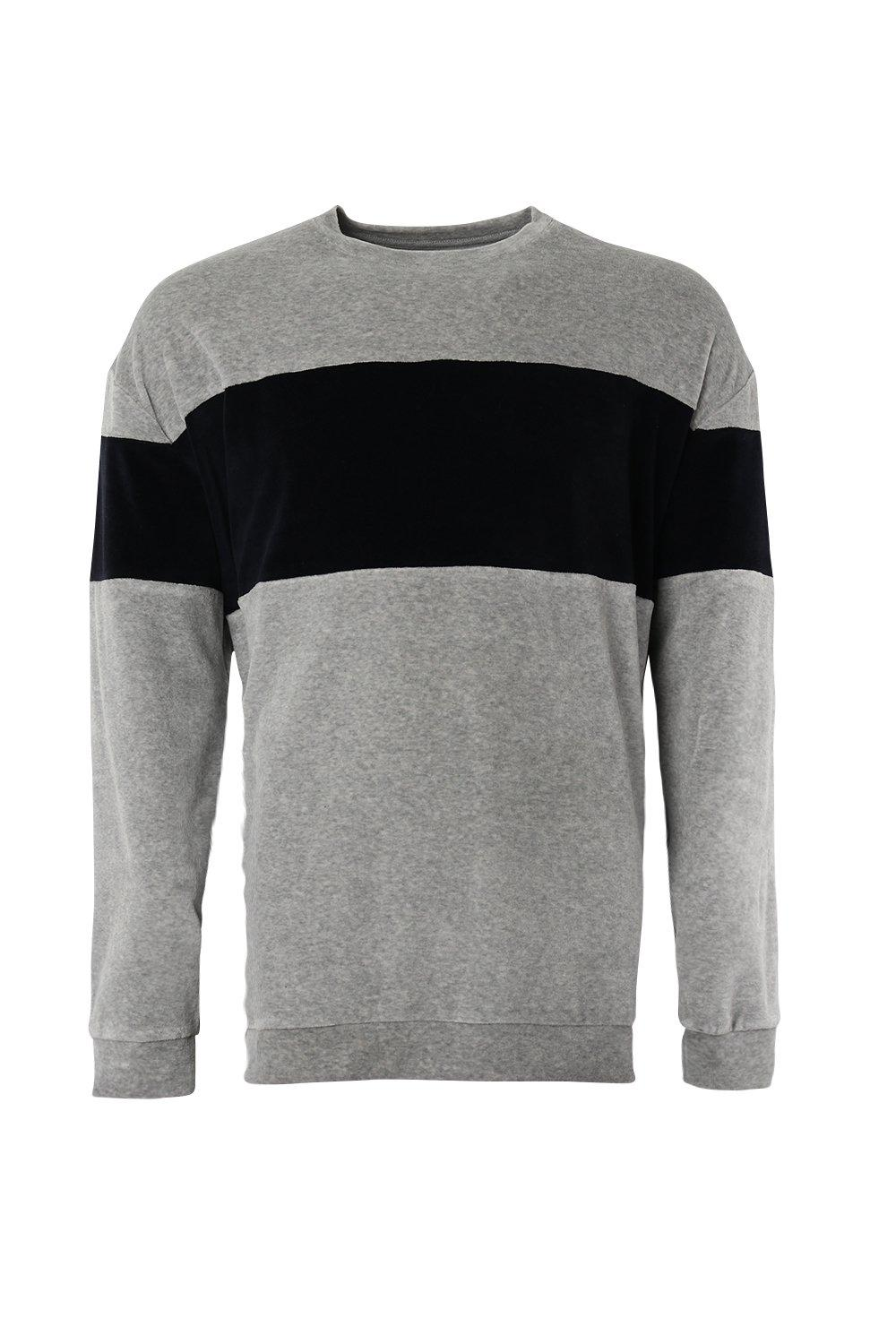 boohooMAN grey Oversized Sweater With Towelling Colour Block