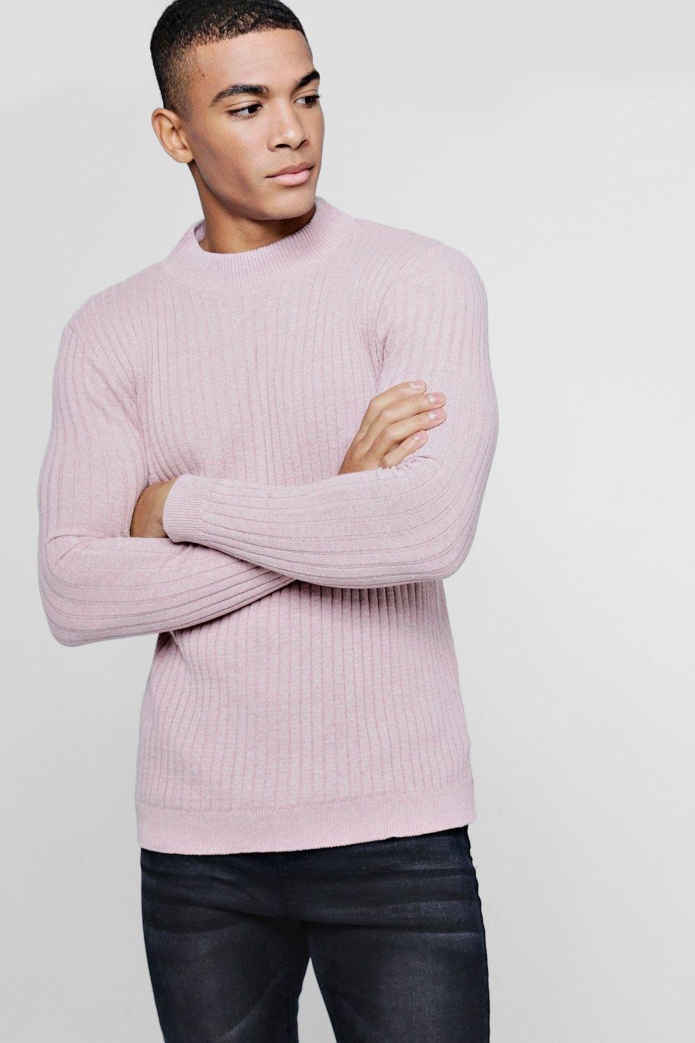 boohooMAN dusky pink Muscle Fit Ribbed Turtle Neck Jumper