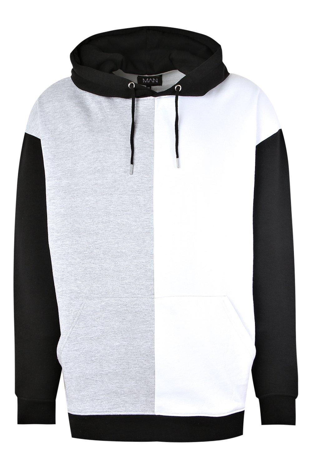 boohooMAN black Oversized Colour Block Over The Head Hoodie
