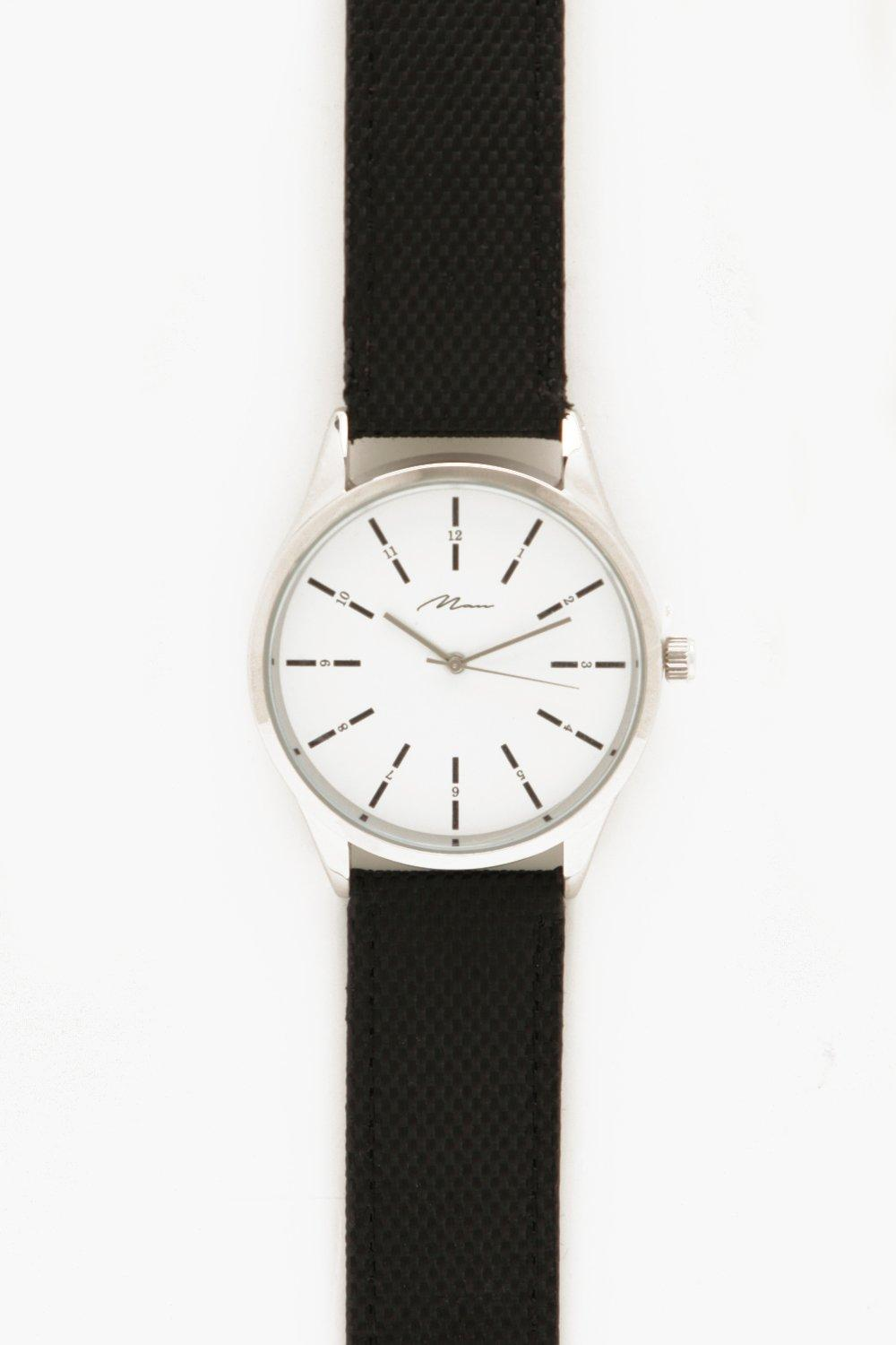 boohooMAN Black Strap Watch With White Dial