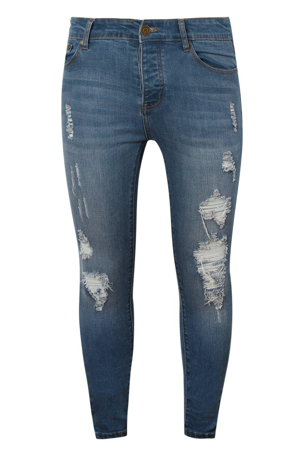 boohooMAN blue Spray On Skinny Jeans With Distressing