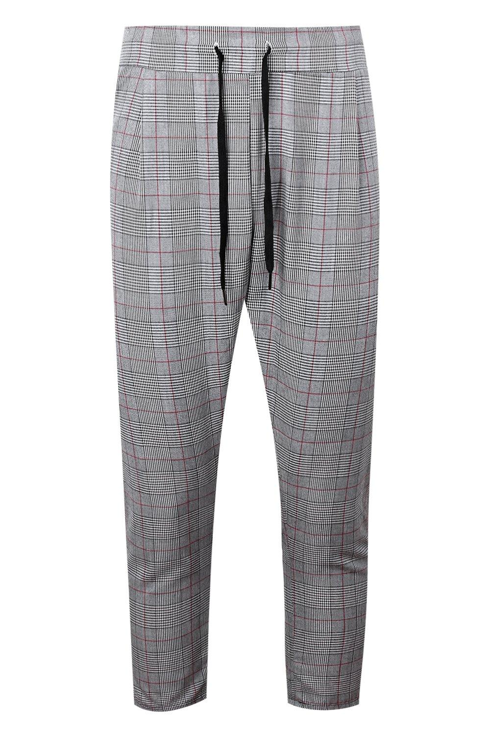 boohooMAN grey Woven Checked Jogger With Red Stripe