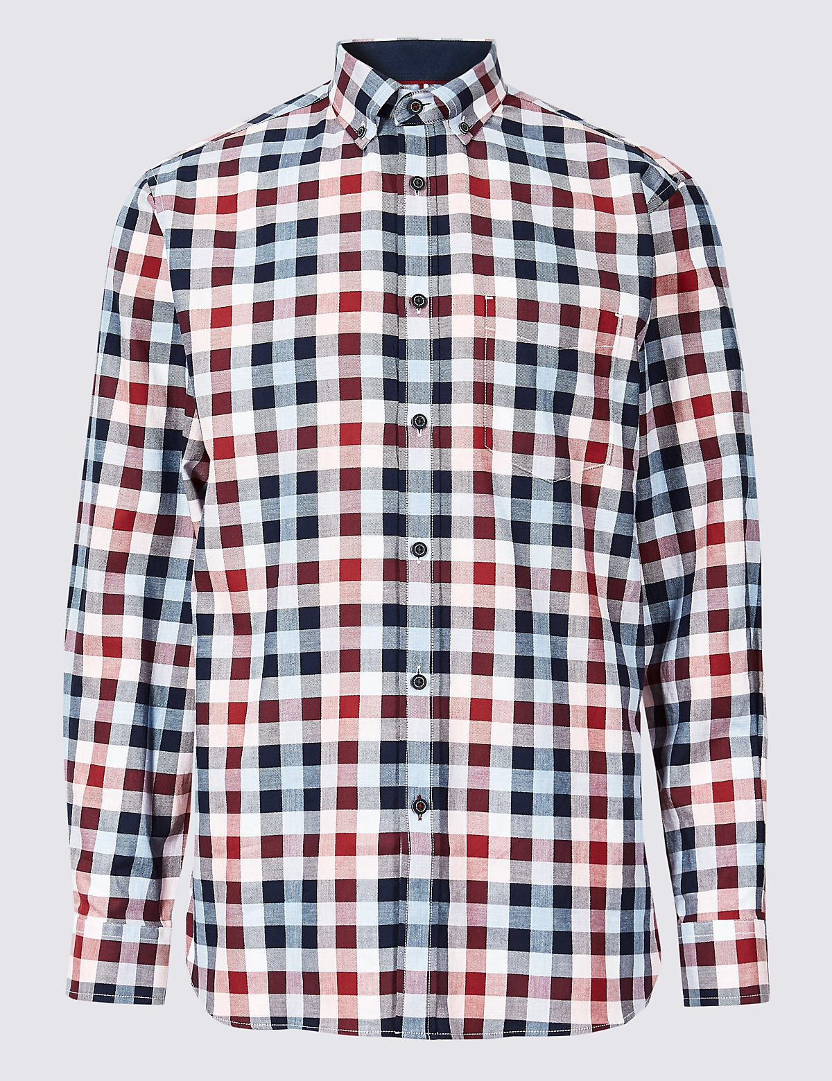 Marks & Spencer Pink Mix Pure Cotton Checked Shirt with Pocket