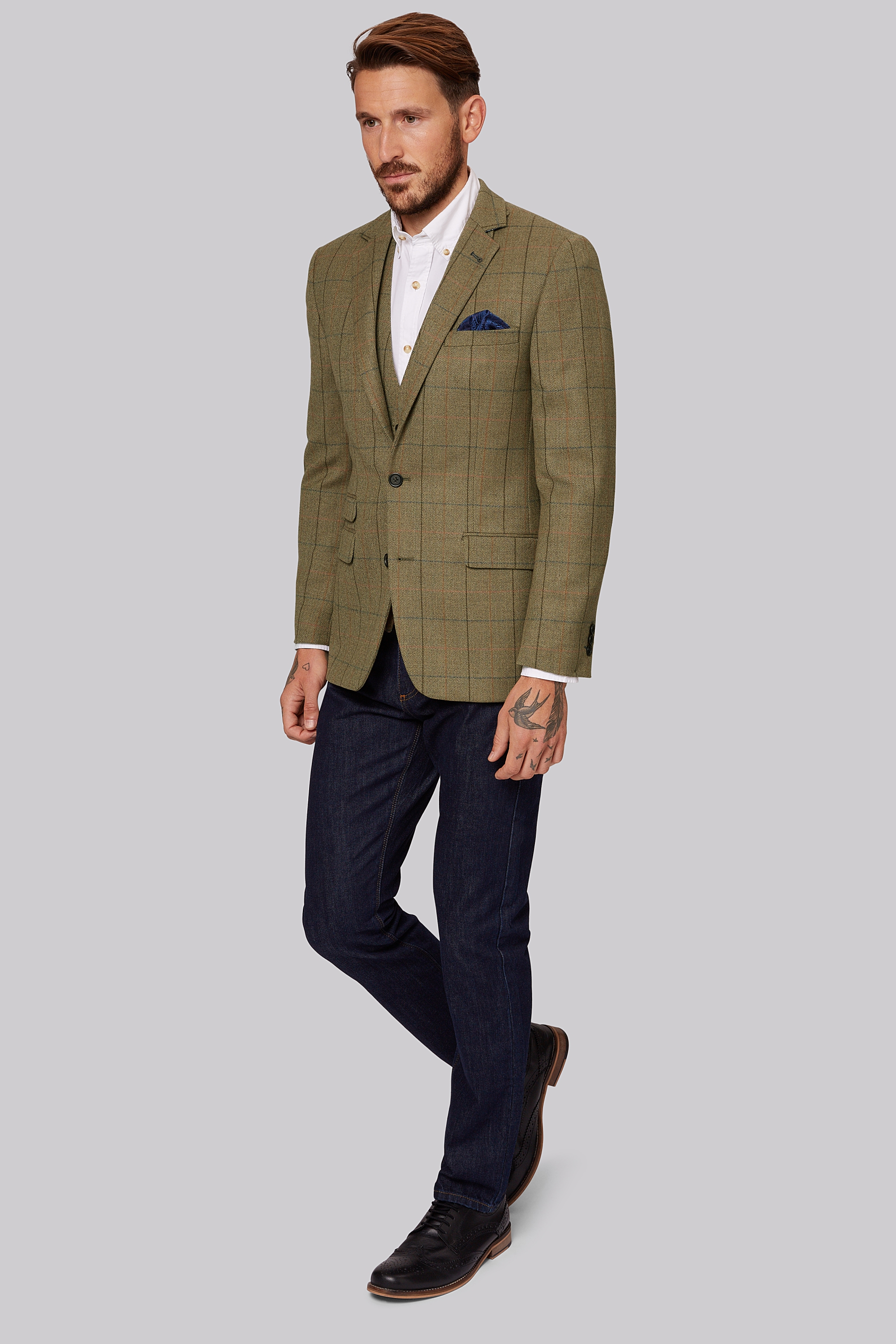7cac706af5bca1 Moss 1851 Tailored Fit Tan Multi Check Ja... — Thread