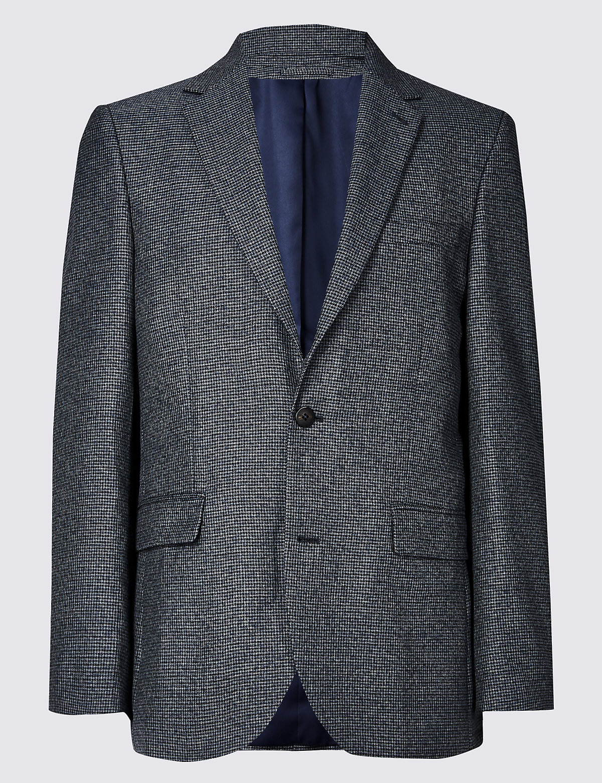 Marks & Spencer Grey Blue Textured Tailored Fit Jacket