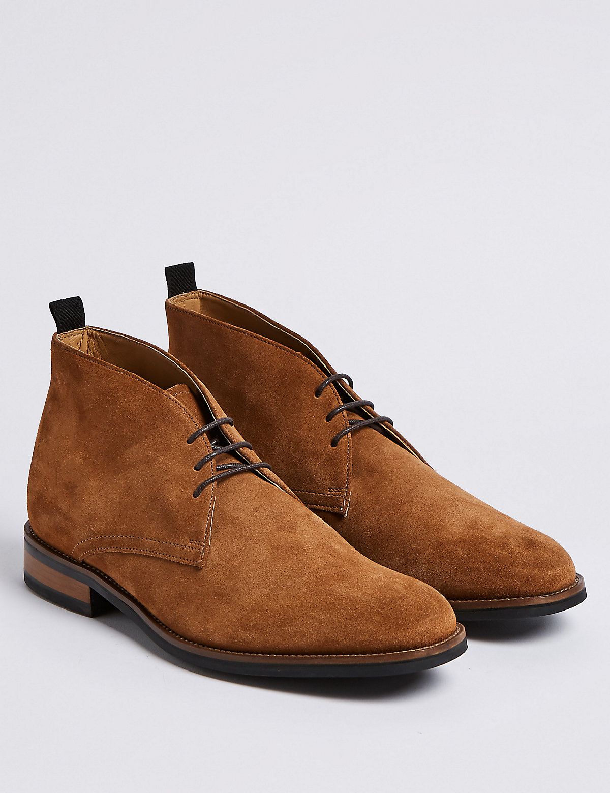 Marks & Spencer Tan Suede Lace-up Chukka Boots