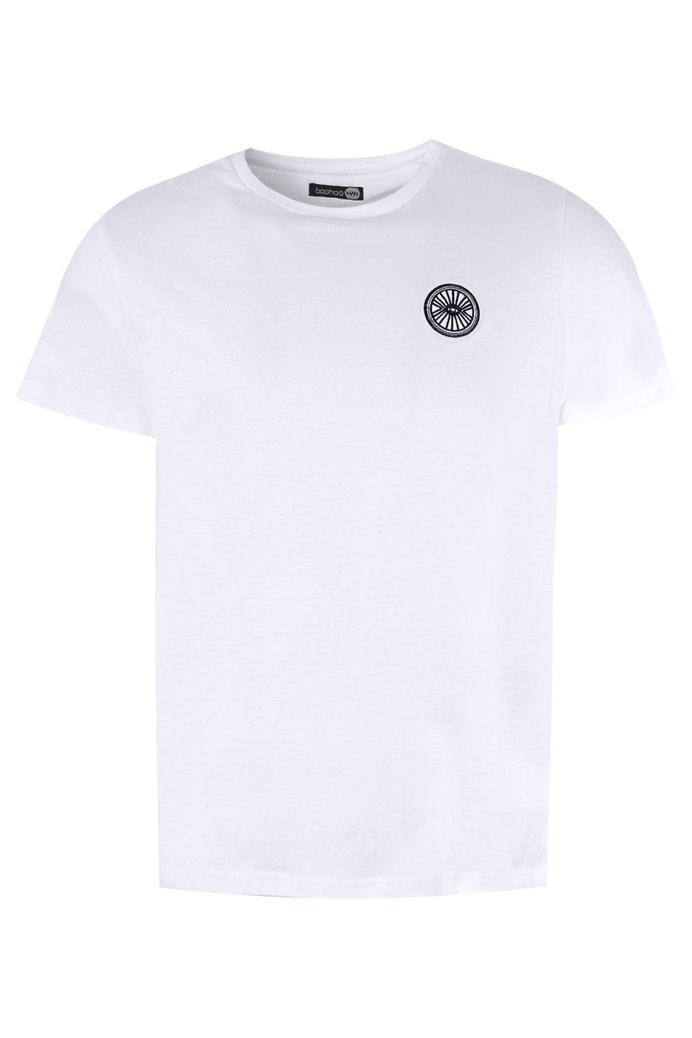 boohooMAN white Circle Eye Embroidered T-Shirt