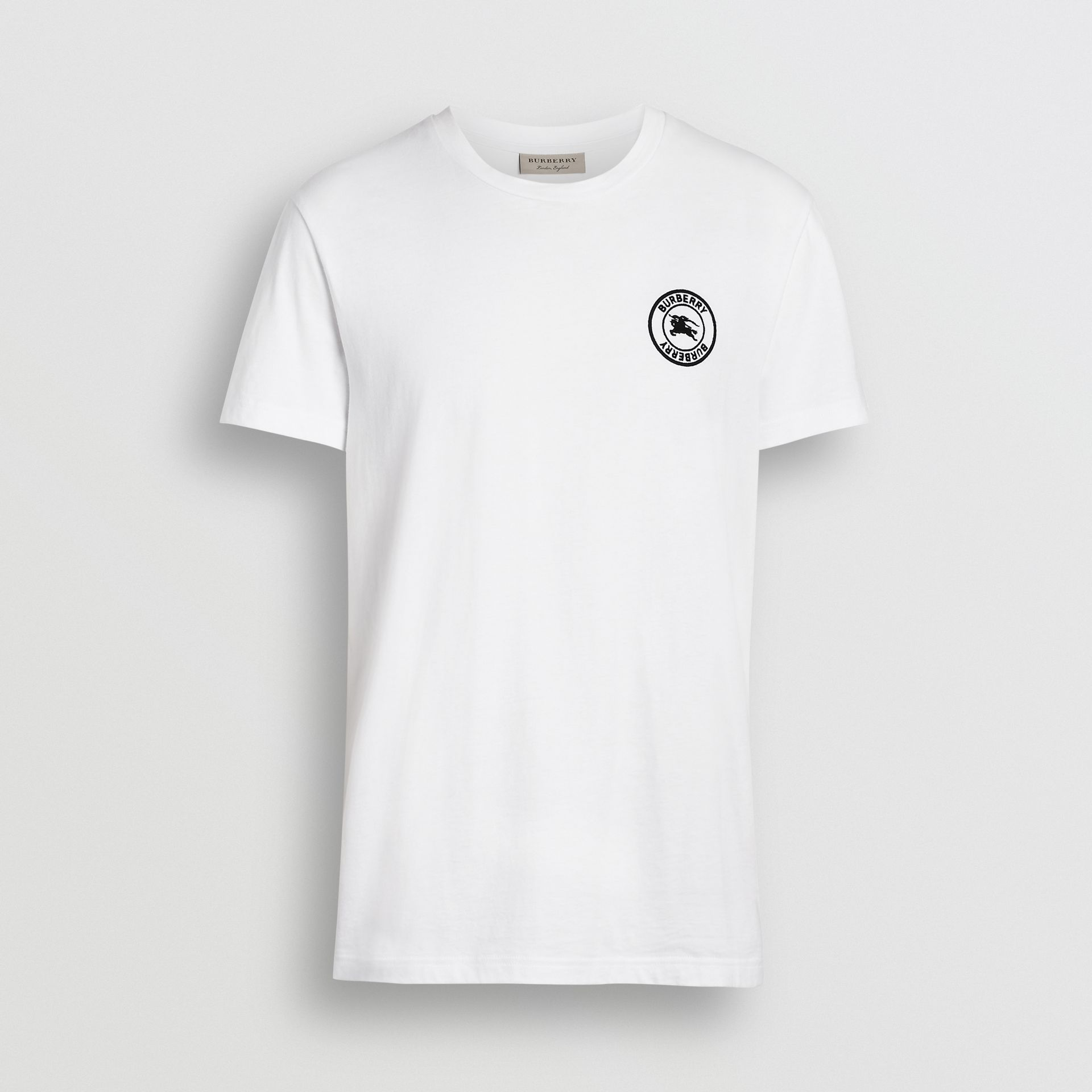 Burberry White Embroidered Logo Cotton T-shirt