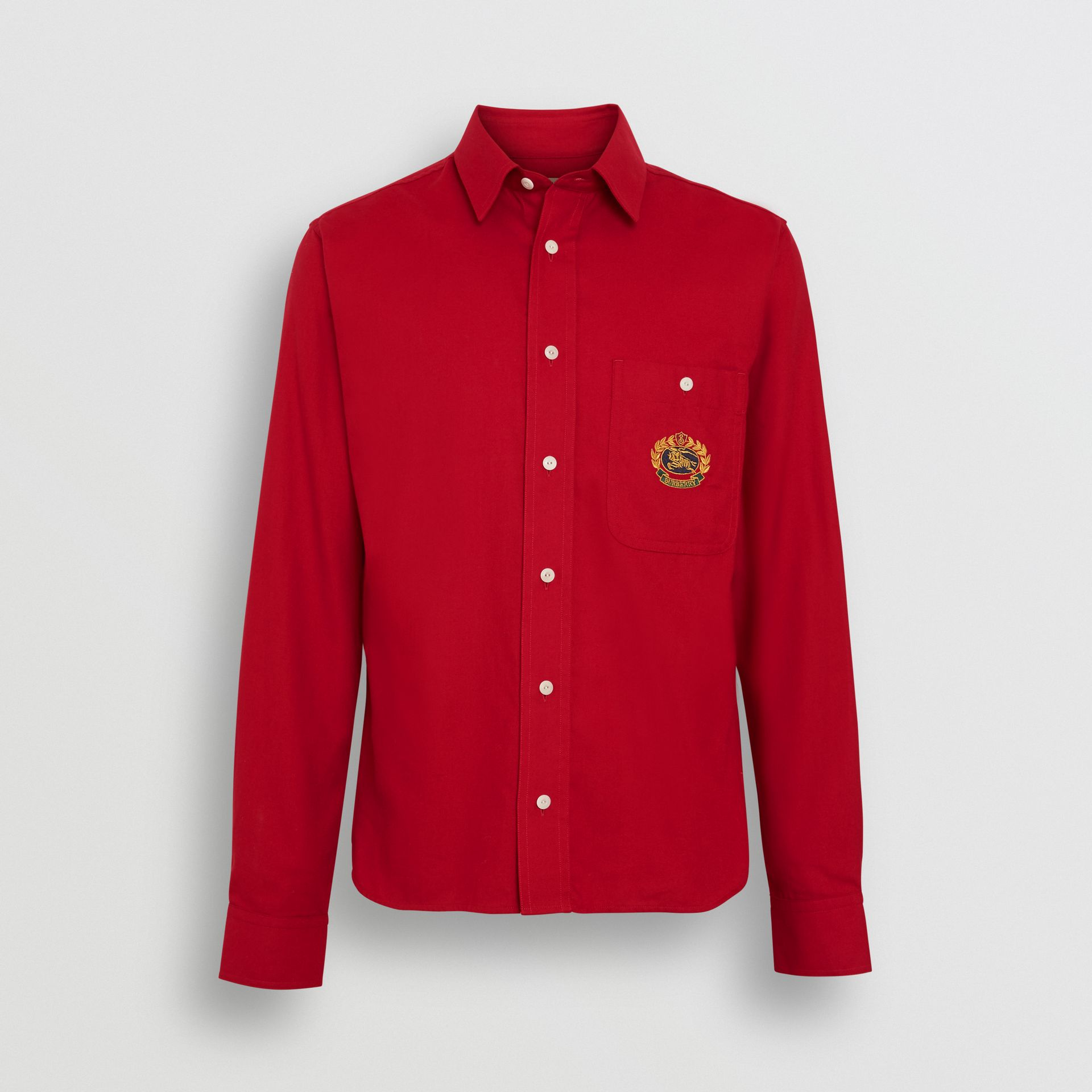 Burberry Poppy Red Embroidered Crest Flannel Shirt