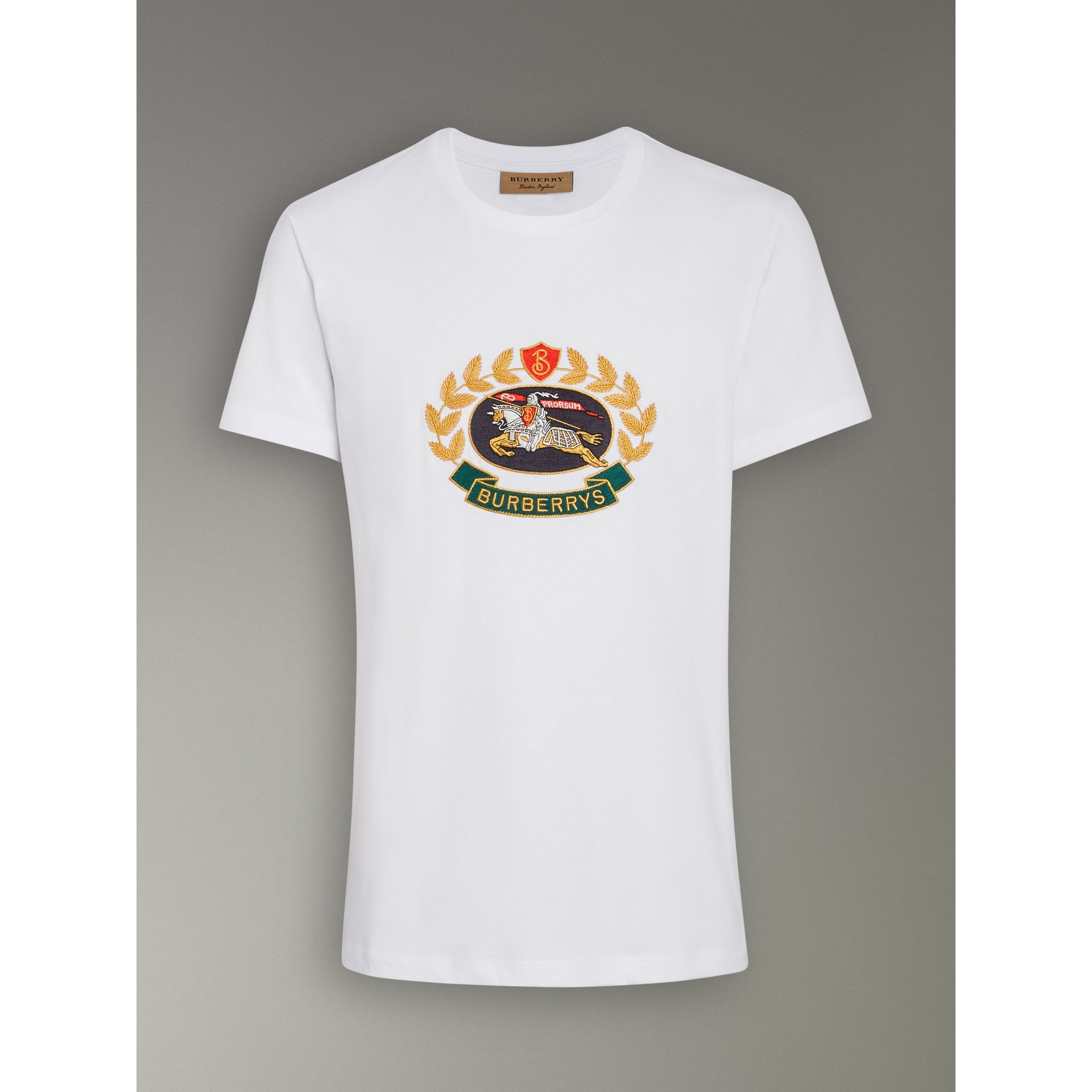 Burberry White Embroidered Archive Logo Cotton T-shirt