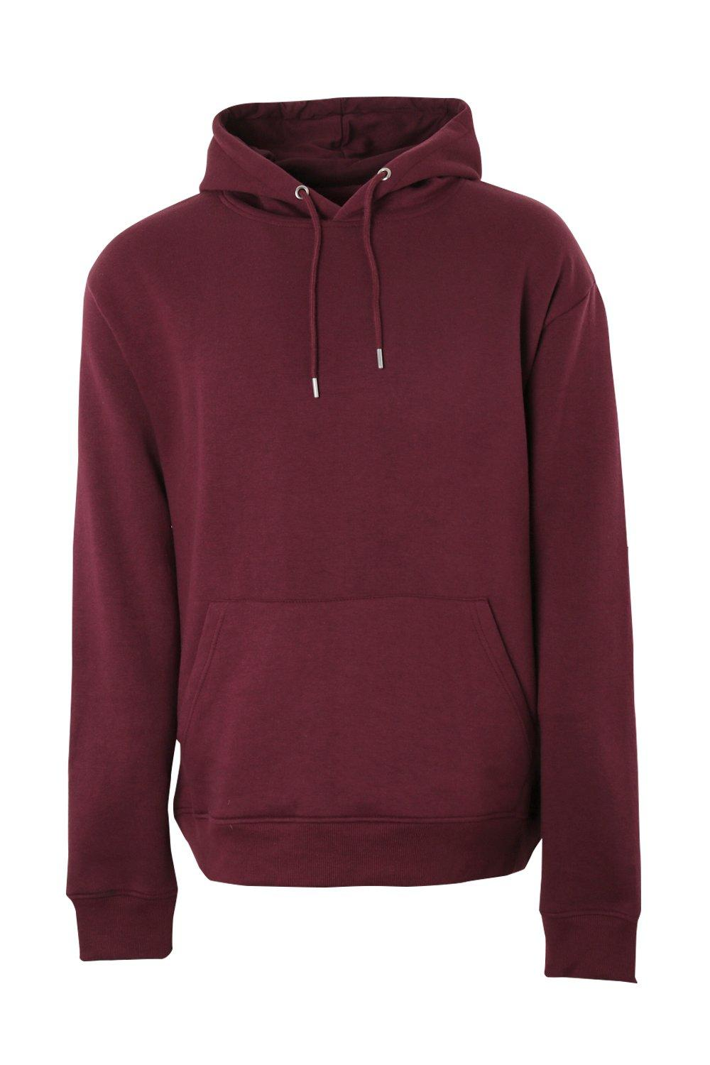 boohooMAN wine Big And Tall Basic Over The Head Hoodie
