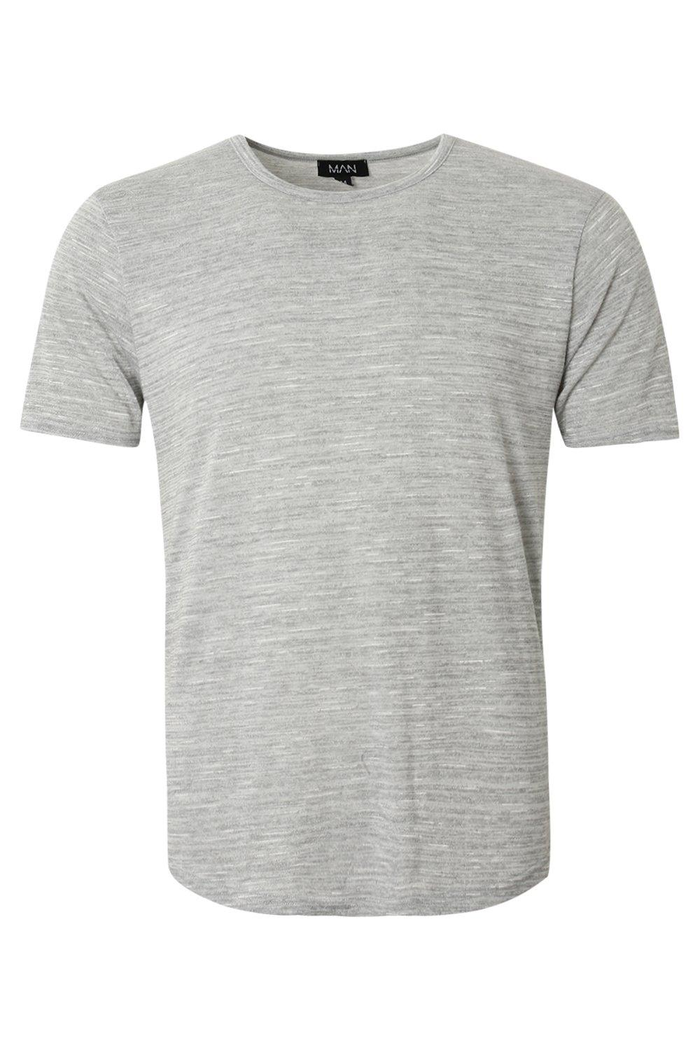 boohooMAN grey Knitted Marl Tee With Curved Hem