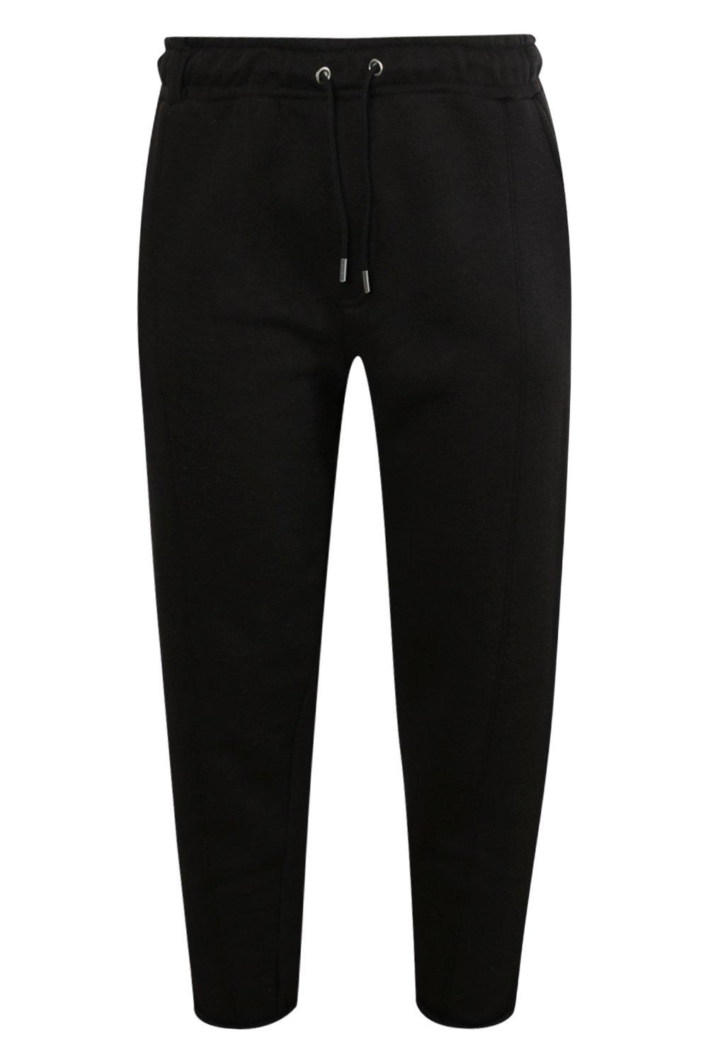 boohooMAN black Cropped Slim Jogger With Turn Ups And Tab Detail