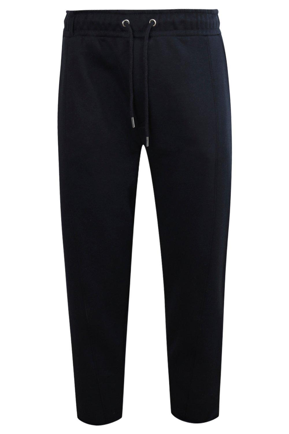 boohooMAN navy Cropped Slim Jogger With Turn Ups And Tab Detail