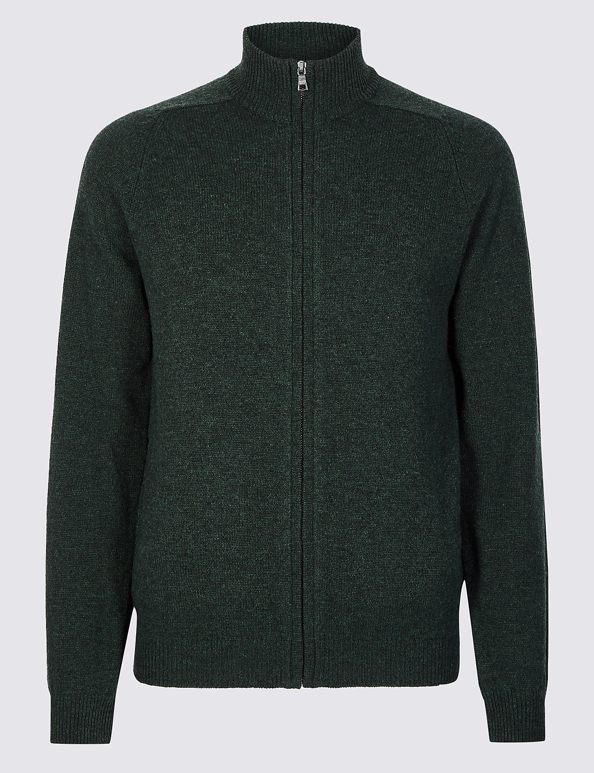 Marks & Spencer Green Pure Lambswool Textured Zip Through
