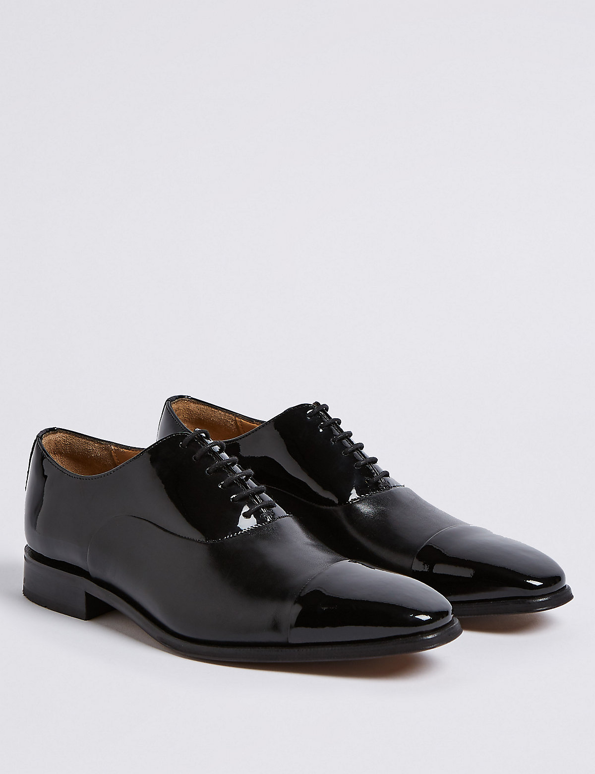 Marks & Spencer Black High Shine Leather Lace-up Derby Shoes