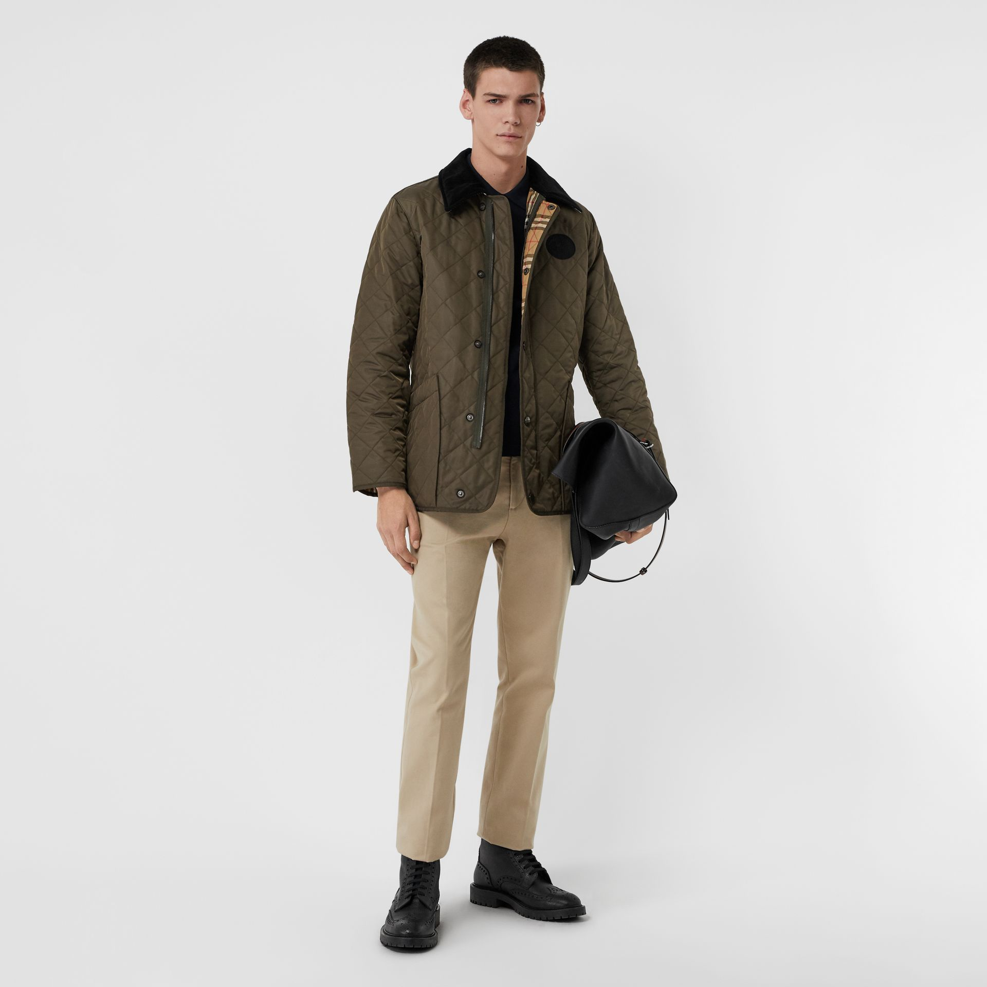 Burberry Dark Olive Diamond Quilted Thermoregulated Barn Jacket