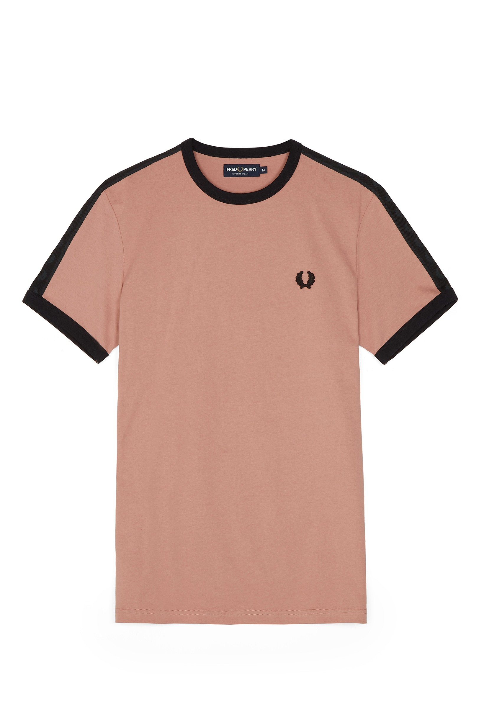 Fred Perry Grey Pink Sports Authentic Taped Ringer T-Shirt