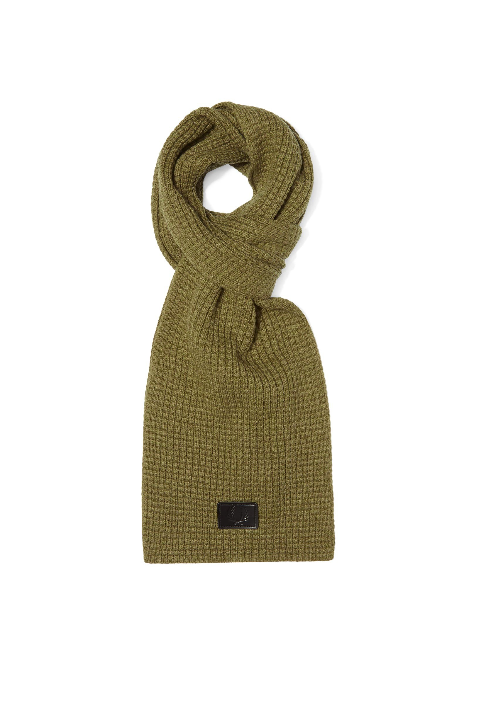 Fred Perry Olive Waffle Knit Scarf