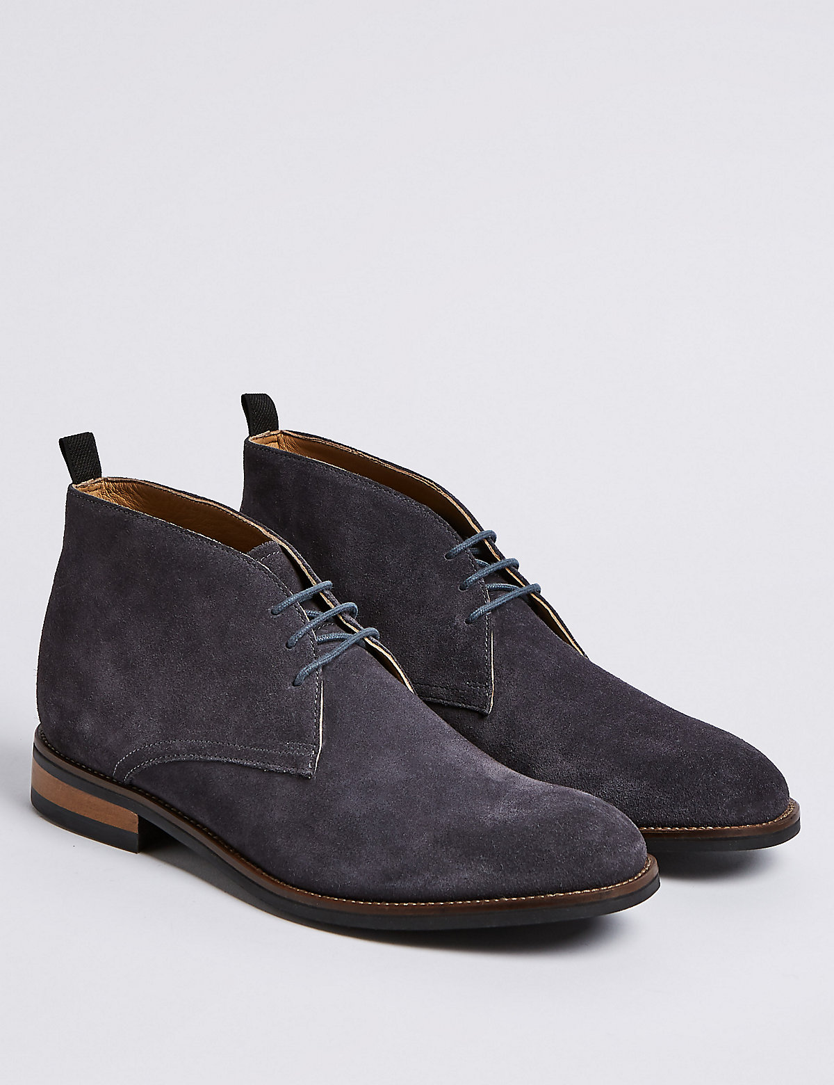 Marks & Spencer Grey Suede Lace-up Chukka Boots