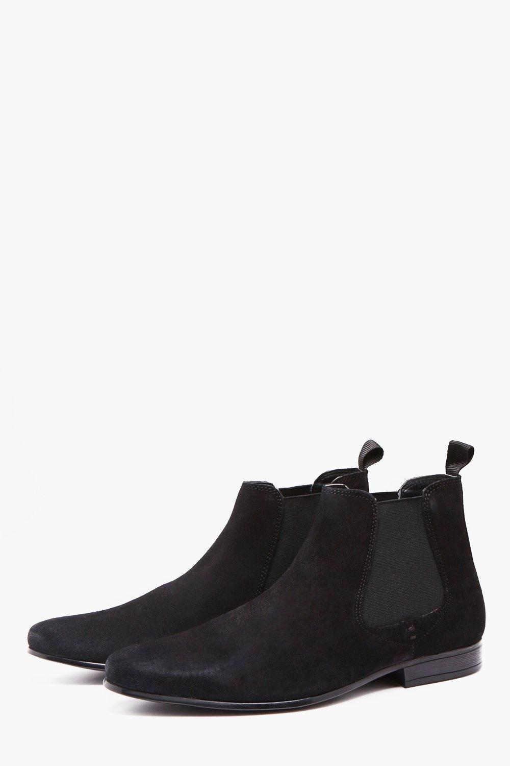boohooMAN black Real Suede Smart Chelsea Boot