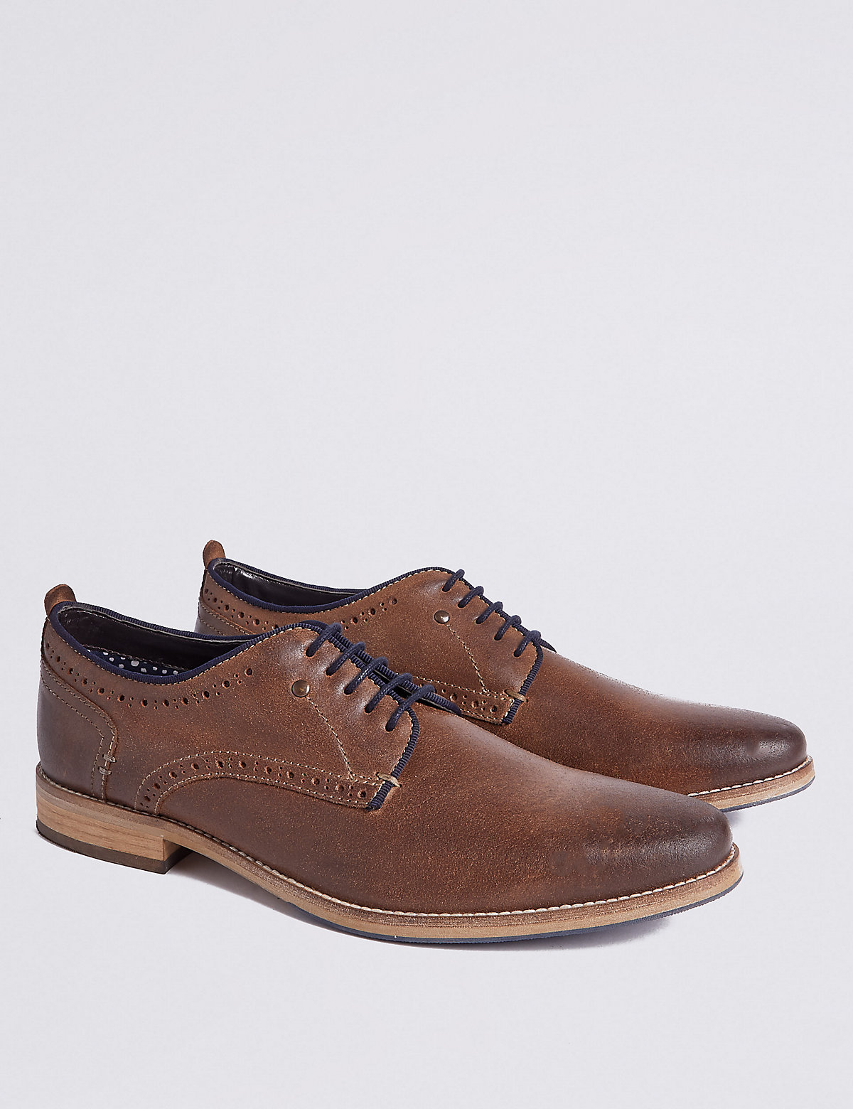 Marks & Spencer Dark Tan Leather Lace-up Derby Shoes
