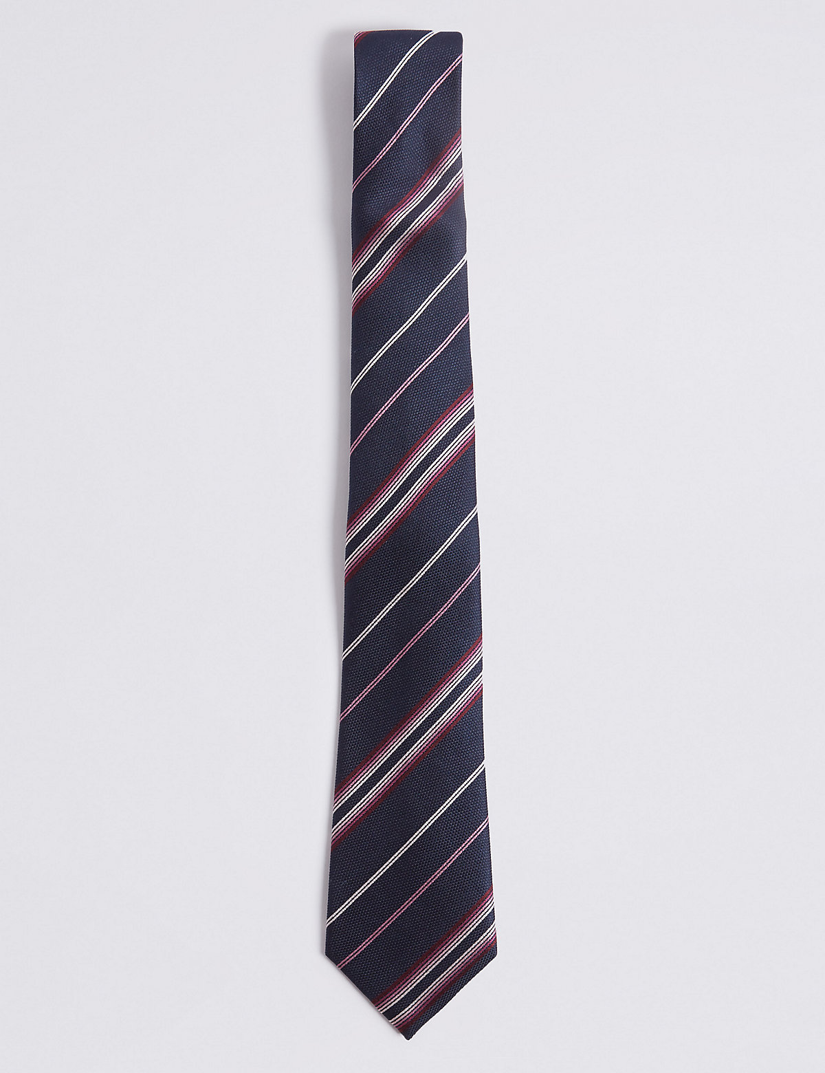 Marks & Spencer Pink Mix Pure Silk Striped Tie
