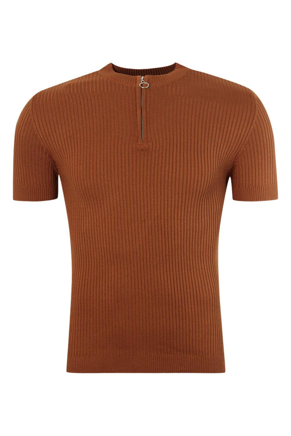 boohooMAN tobacco Short Sleeve Rib Knitted Turtle Neck