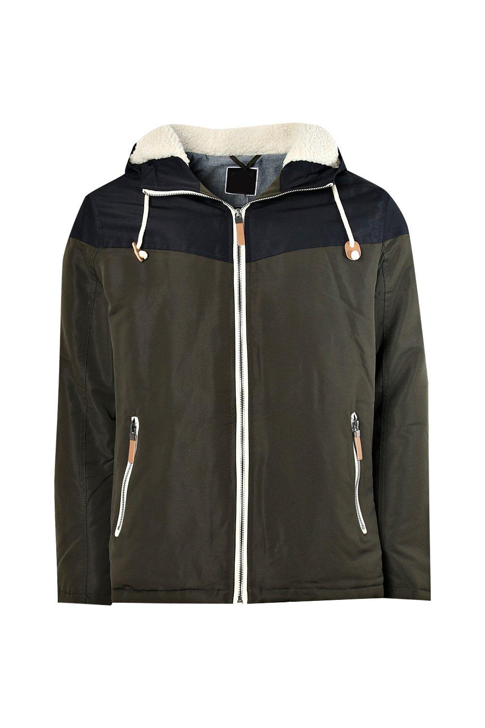 boohooMAN khaki Colour Block Hooded Zip Through Jacket