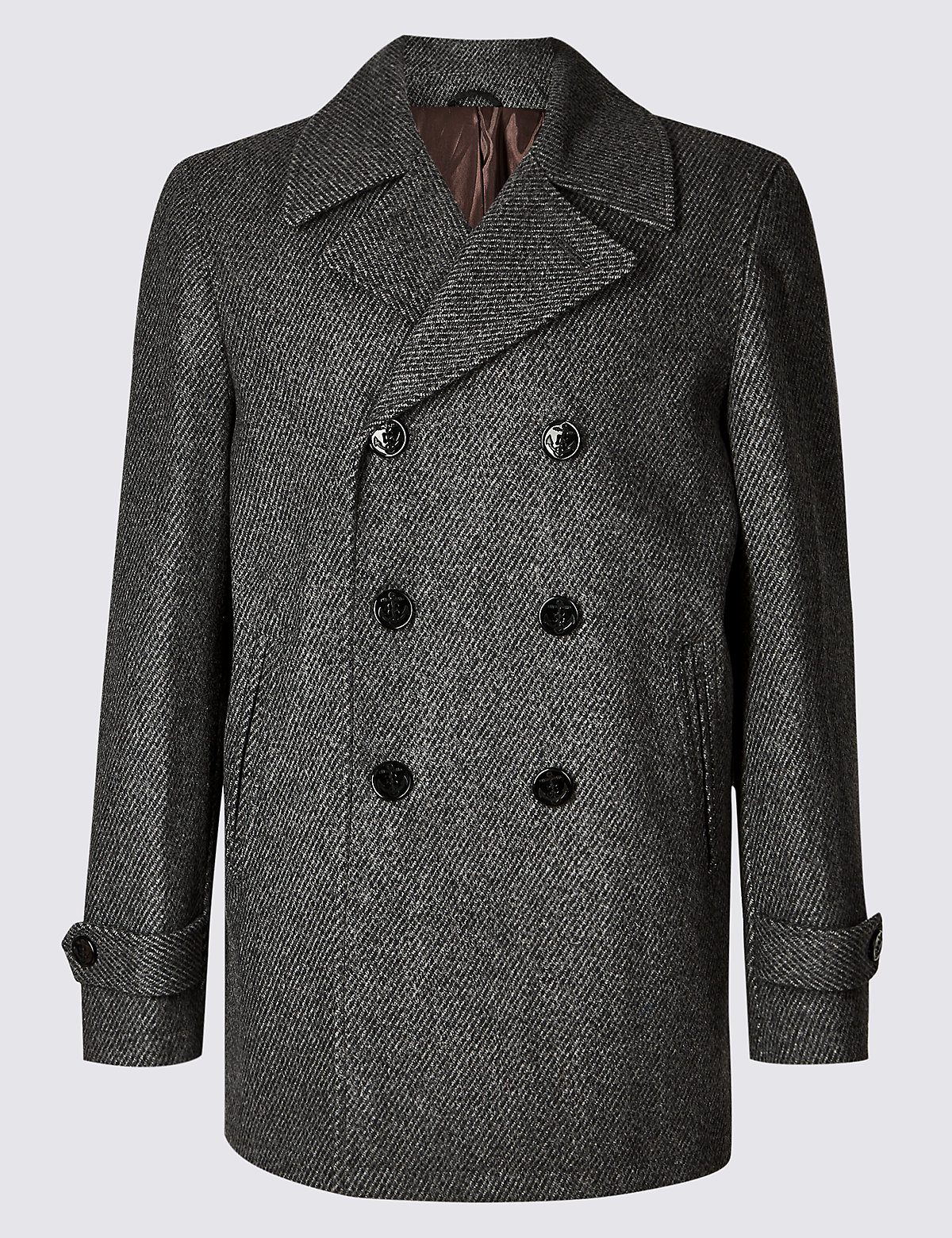 Marks & Spencer Grey Wool Blend Peacoat