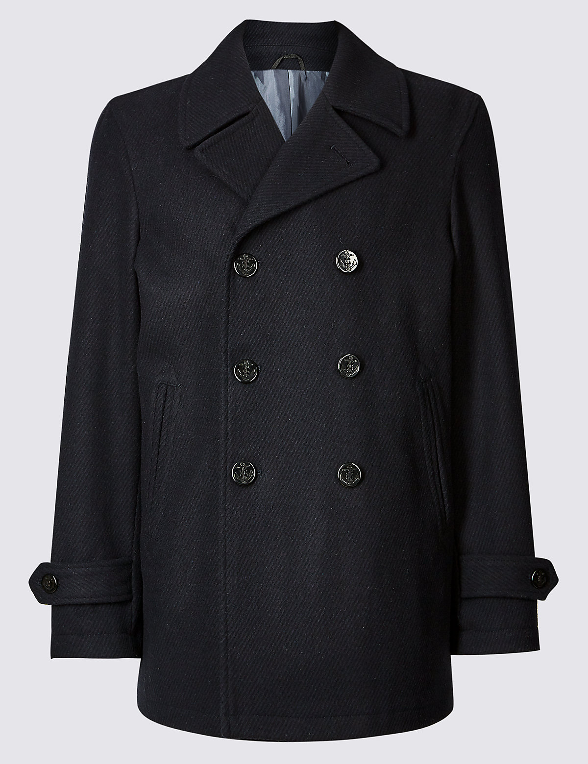 Marks & Spencer Navy Wool Blend Peacoat