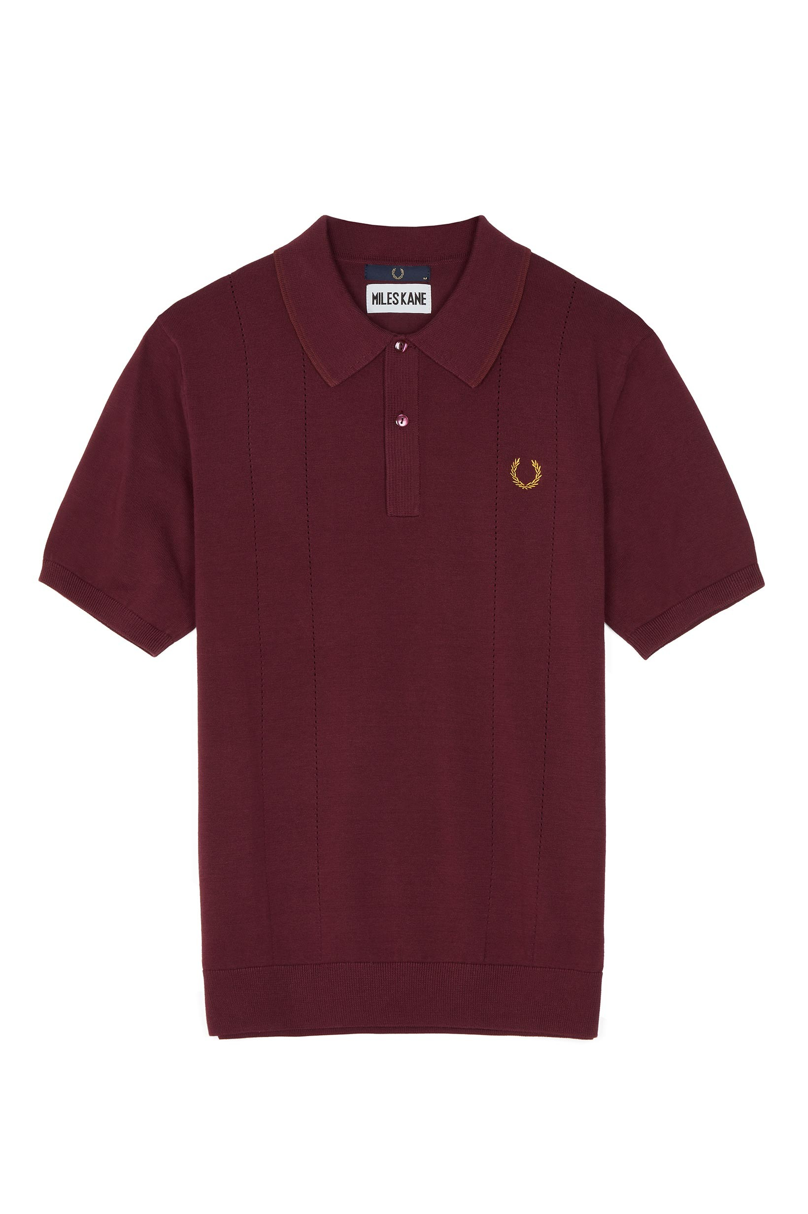 Fred Perry Mahogany Miles Kane Pointelle Knitted Shirt