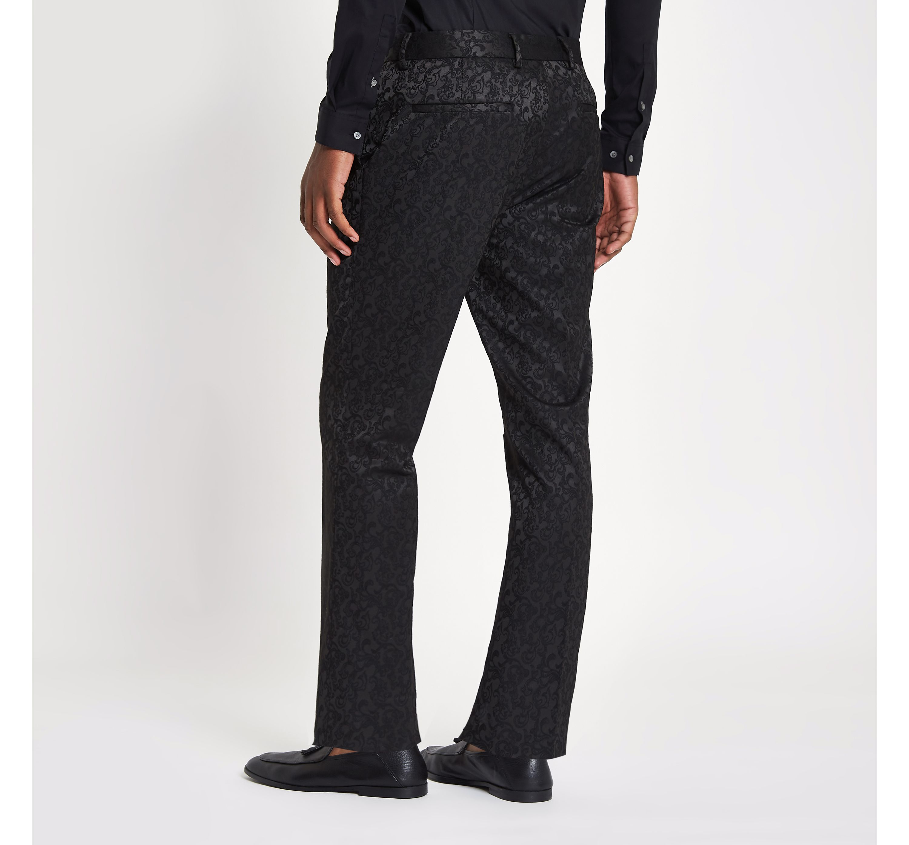 River Island Mens Black jacquard stretch skinny smart trousers