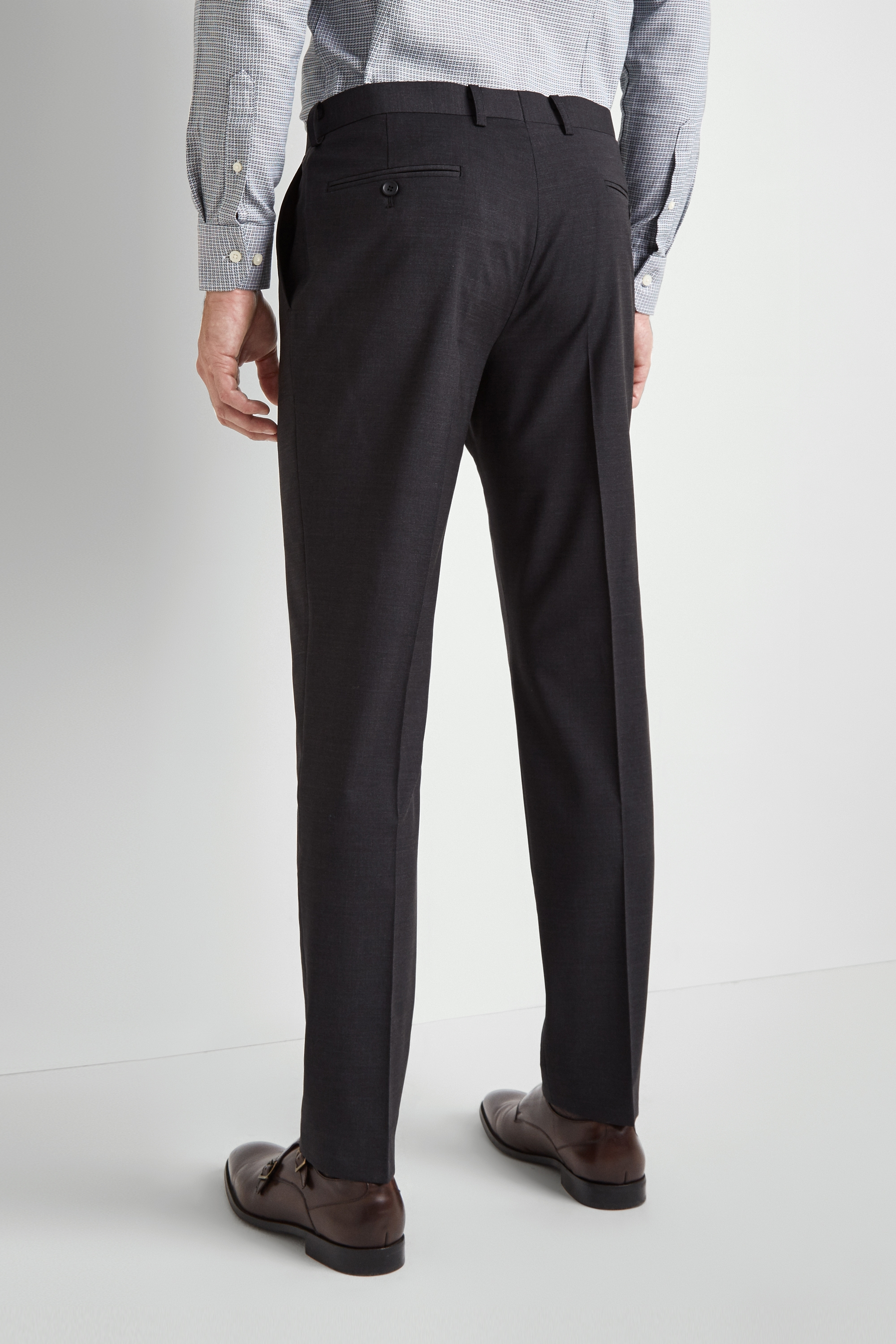 Moss Bros Moss 1851 Performance Tailored Fit Charcoal Trousers