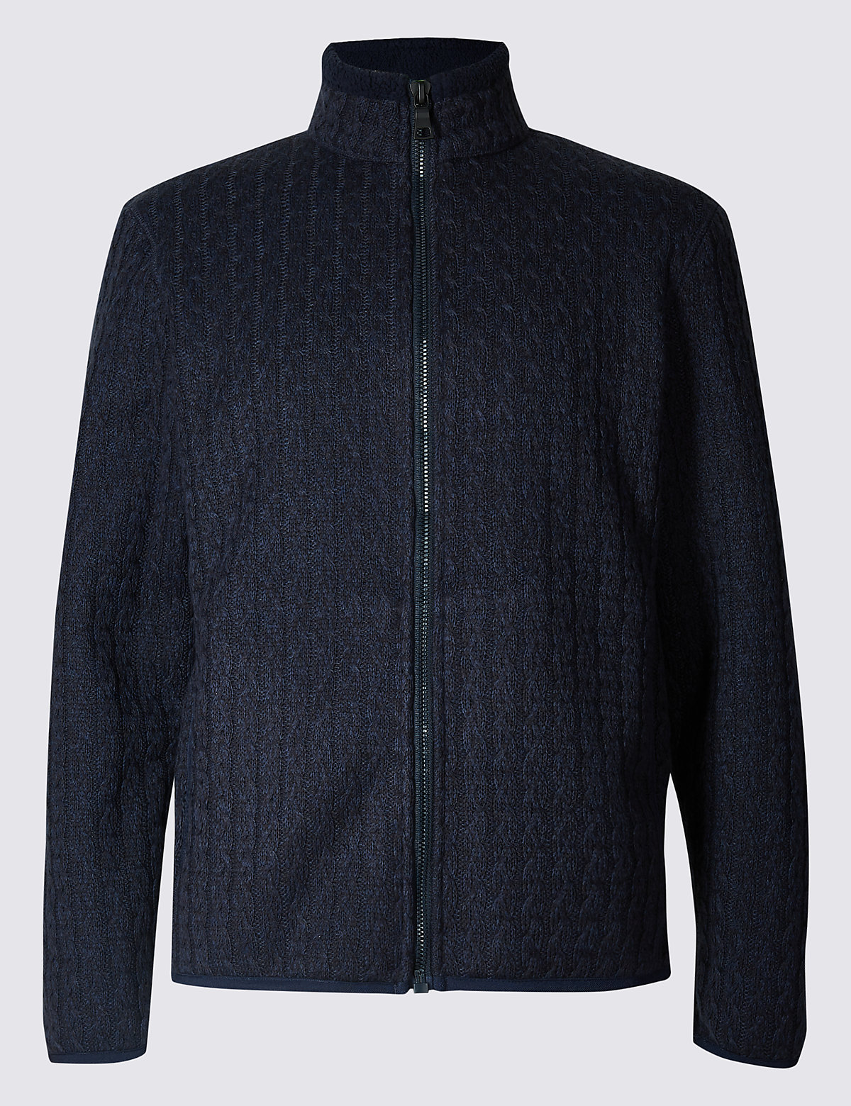 Marks & Spencer Navy Mix Cable Knit Zip Through Jacket with Stormwear™
