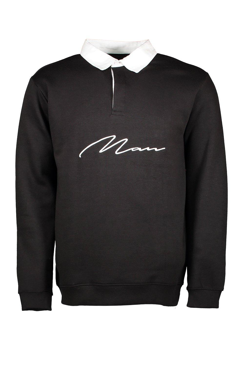 boohooMAN black MAN Signature Embroidered Rugby Sweat