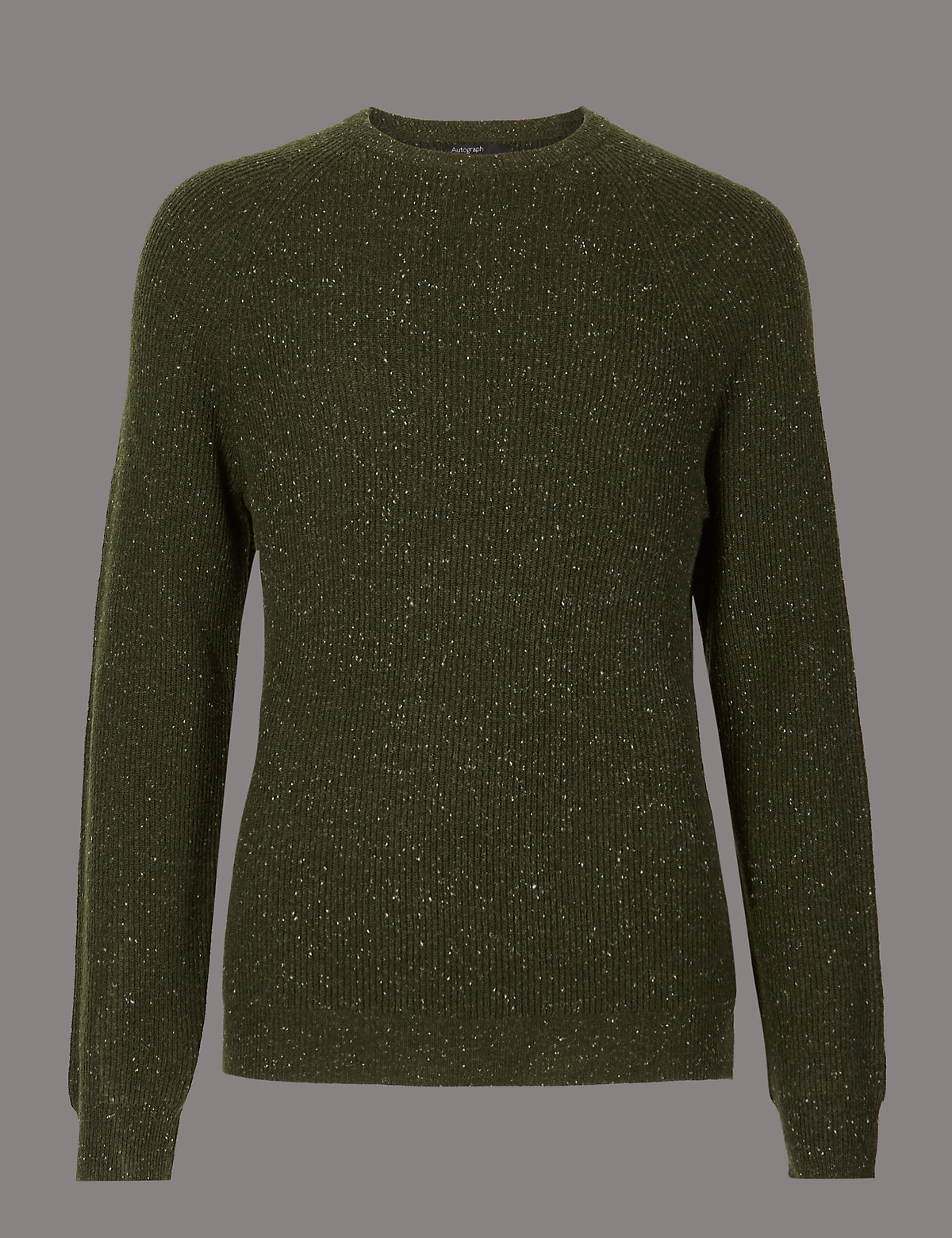 Marks & Spencer Khaki Merino Slim Fit Nep Jumper with Cashmere
