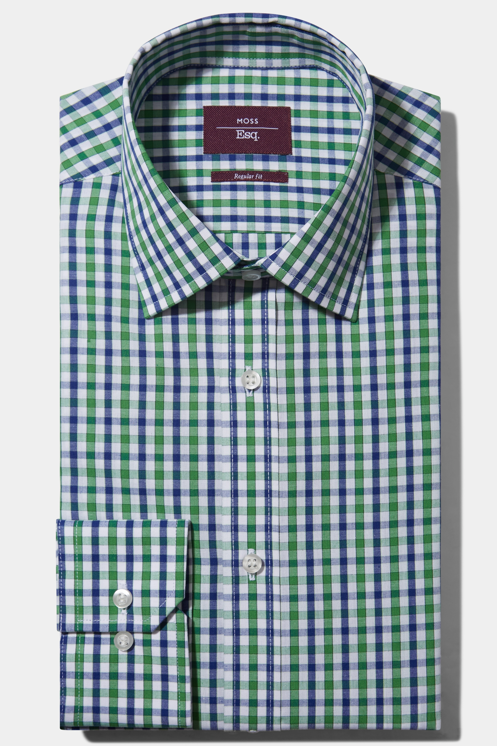 Moss Bros Moss Esq. Regular Fit Green Single Cuff Check Shirt