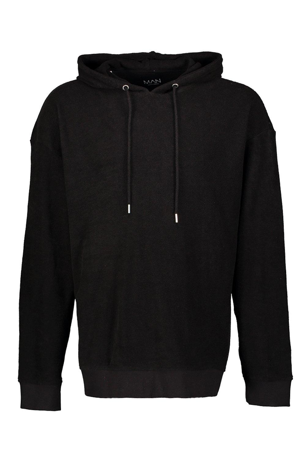 boohooMAN black Oversized Over The Head Towelling Hoodie